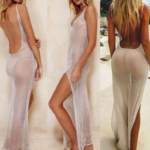 Sheer long mesh silver slit dress cover up bikini